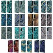 Official Lebensart Geo Liquid Marble Leather Book Wallet Case For Huawei Phones
