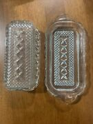 Vintage Anchor Hocking Crystal Clear Butter Dish Cut Pattern Glass