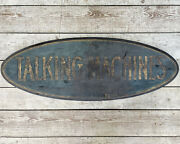 Antique Talking Machines Wooden Trade Sign Old Paint Edison Record Player Shop