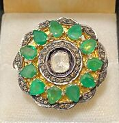 1910s Antique Design Yg And Silver W Flat Diamonds And Emeralds Ring 15k Apr W/coa}