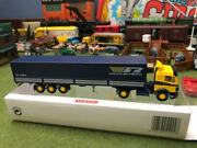 Wiking Tractor Trailer Nice Used In Box Ho Scale Lorry Blue Yellow Germany Read