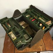 Vintage Kennedy Fishing Tackle Box 1950and039s Chest Tool Antique Lure Hook Tackle