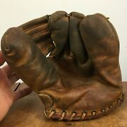 Antique Vintage Leather Baseball Mitt Glove Rawlings Stan Musial 30s 40s
