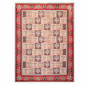 9and039 X 12and039 Asmara Hand Woven Wool French Aubusson Flatweave Area Rug Rose 9x12