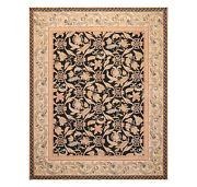 8and039x10and039 Asmara Hand Woven Wool French Aubusson Botanical Flatweave Area Rug Black