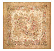 10and039 X 10and039 Asmara Square Hand Woven Wool Aubusson Needlepoint Flat Pile Area Rug