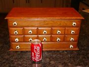 Neat 12 Drawer Antique Oak Counter Top Cabinet Or Case------15620