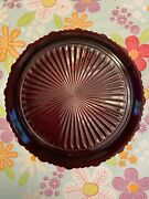 """Avon Ruby Red Glass 1876 Cape Cod Round Dinner Plates Dishes - 10 3/4""""-set Of 6"""