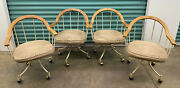 4 Vintage Mcm High Point Rolling Metal And Wood Chairs W Padded Seat - We Ship