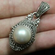 Sarda Sterling Silver Oval Bali Filigree Style Mother Of Pearl Locket Pendant 1