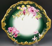 Large Limoges France Hand Painted Orchid 14.75 Charger