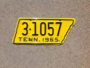 1965 Tennessee - State Shaped - Motorcycle License Plate - Repainted
