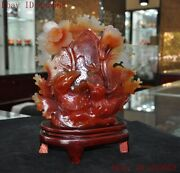 11china Feng Shui Natural Red Agate Onyx Carved Lotus Mandarin Duck Bird Statue