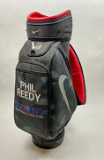 Used Gray/red Nike Vrs Golf Staff Bag With Strap Embroidered Phillip Reedy