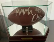 Official Maurice Drew Signed Football In Glass/wood Display Case