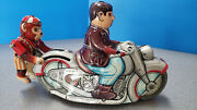 Vintage 50and039s Tin Wind-up Toy Man And Monkey Rider Motorcycle Kanto Japan Works