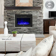 Insert Electric Fireplace Heater 3d Realistic Log Flame Remote Control Mount In