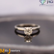 Estate .84cts Old Euro Diamond 18k White Gold 4 Prong Solitaire Engagement Ring