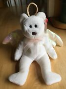 Rare Brown Nose 1998 Ty Beanie Baby Halo The Angel Bear Toy