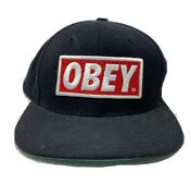 Obey Logo Hat Baseball Snapback Embroidered Black Red White Embroidered Flat
