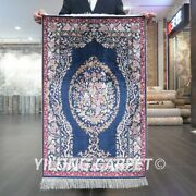 Yilong 2and039x3and039 Handknotted Silk Carpet Flower Tapestry Luxury Area Rug Z525a