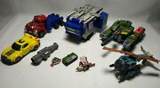 Mixed Lot Of Transformers Tank Truck Helicopter Car Large Tank Measures 11x5x3