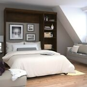 Atlin Designs 84 Full Wall Bed With 5-shelf Storage Unit In Chocolate