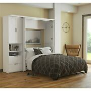 Atlin Designs 2 Piece Full Storage Wall Bed Set In White