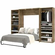 Atlin Designs 3 Piece Full Wall Bed In Rustic Brown And White
