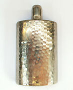 1960's Silver Hand-hammered Chrome Tin Lined Flask Marked Germany Ahs 10oz.