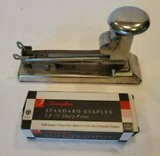 Ace Fastener Corp Pilot Stapler 404 Chrome Vintage Usa With Box Of Staples