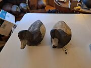 Pair Of H H Ackerman Bluebill Duck Decoys. Completely Original. Never Been Used