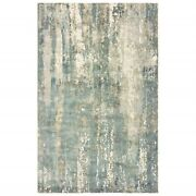9 X 12 Blue And Gray Abstract Splash Indoor Area Rug