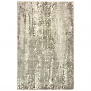 9 X 12 Gray And Ivory Abstract Splash Indoor Area Rug