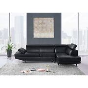 Contemporary Black Faux Leather Sectional Sofa