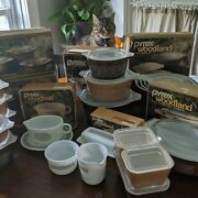Near Complete Set Of Pyrex Woodland And Corelle Compatibles Cat Not Included