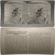 Keystone Stereoview Outrigger Canoe, Philippines From Rare 1200 Card Set 1013