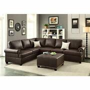 Bonded Leather 2 Pieces Reversible Sectional In Brown