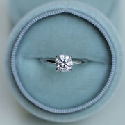 Round Cut 0.40 Ct Real Diamond Wedding Rings 14k Solid White Gold Size 5 6 7 8 9