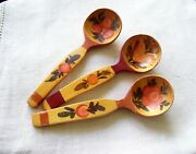 Antique Set Of 3 Spoon Wooden Spoon Rustic Decor Decorative Spoons Painted Spoon