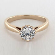 Round 0.50 Ct Real Diamond Engagement Ring For Womenand039s 14k Rose Gold Size 5 6 7