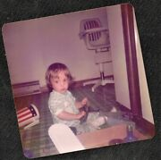 Antique Vintage Photograph Cute Little Baby Playing With Toys On Floor