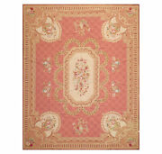8and039 X 10and039 Asmara Hand Woven Wool French Aubusson Medallion Classic Area Rug Rose
