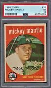 1959 Topps Mickey Mantle 10 Psa 3 Very Good