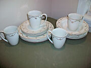 Pier 1 Holiday Scroll 16 Pc Dinnerware Set Dinner Plates Bowls Cups Gold
