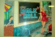 Orig. Concept Backglass Painting For Pinstarand039s Walk And039n The Ball Pinball Machine