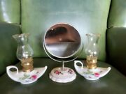 Lot Of Three Vintage White Ceramic Mini Floral Oil Lamps And Mirror