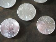 2014 Canadian Silver Maple Leaf 5 Ounces Total 5 One Ounce Silver Coins