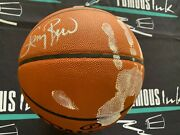 Larry Bird Signed And Hand Printed Nba Game Basketball White Paint Beckett Witness