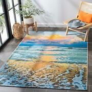 Safavieh Barbados Dusk Waves In Color Gold And Blue 5 By 7 Ft Outdoor Area Rug